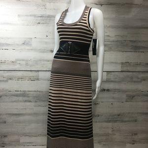 Black tan black stripe racer back maxi dress S